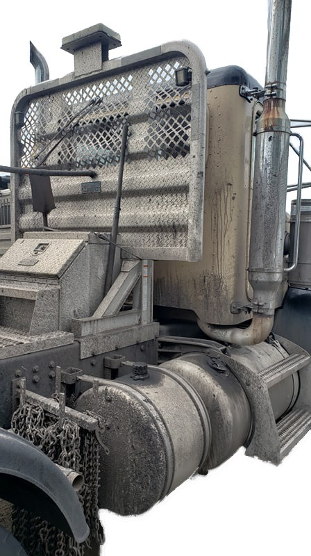 dirty back of semi truck